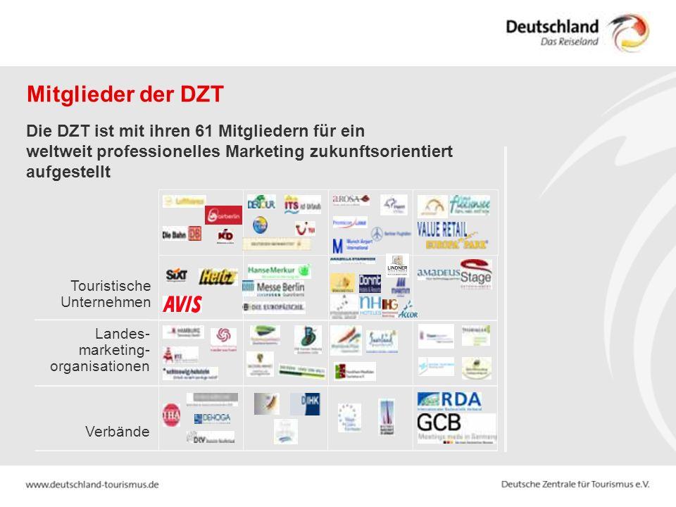 Mitglieder der DZT Die DZT ist mit ihren 61 Mitgliedern für ein weltweit professionelles Marketing zukunftsorientiert aufgestellt.
