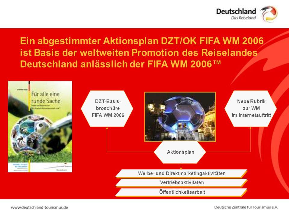 Ein abgestimmter Aktionsplan DZT/OK FIFA WM 2006 ist Basis der weltweiten Promotion des Reiselandes Deutschland anlässlich der FIFA WM 2006™