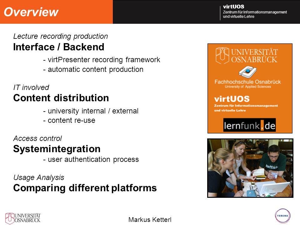 Overview Interface / Backend - virtPresenter recording framework