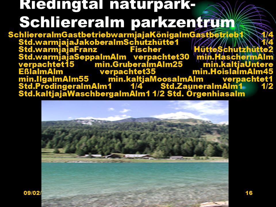 Riedingtal naturpark-Schliereralm parkzentrum