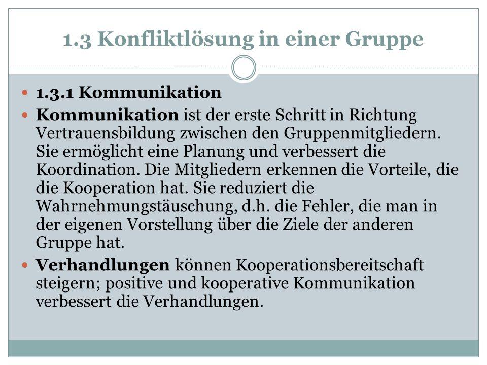 1.3 Konfliktlösung in einer Gruppe
