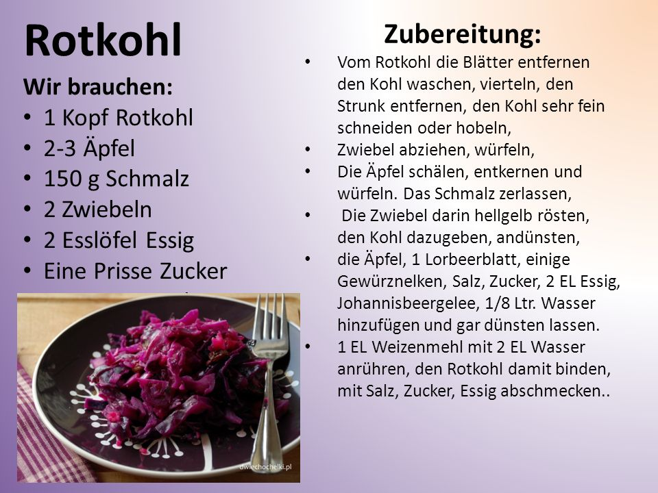 Rotkohl Zubereitung: Wir brauchen: 1 Kopf Rotkohl 2-3 Äpfel