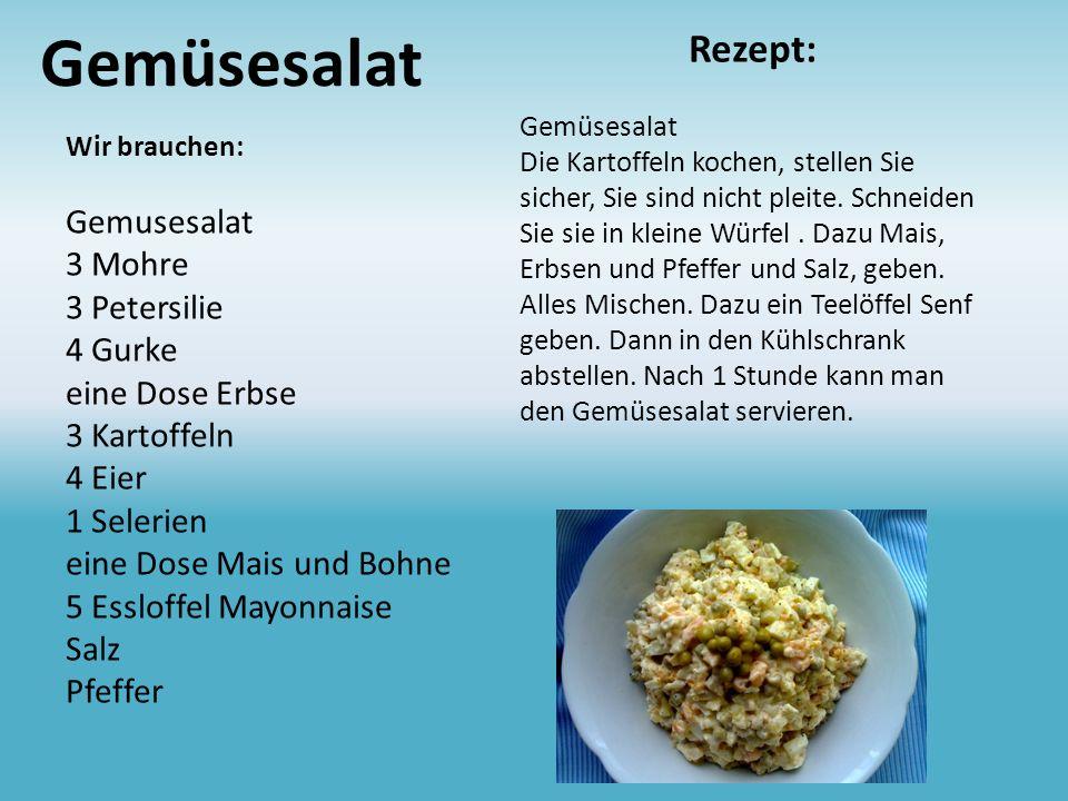 Gemüsesalat Rezept: Gemusesalat 3 Mohre 3 Petersilie 4 Gurke