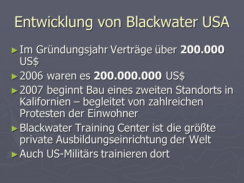 Entwicklung von Blackwater USA