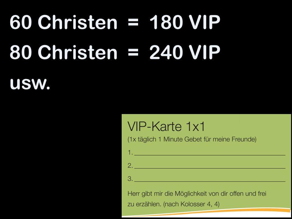 60 Christen = 180 VIP 80 Christen = 240 VIP usw.