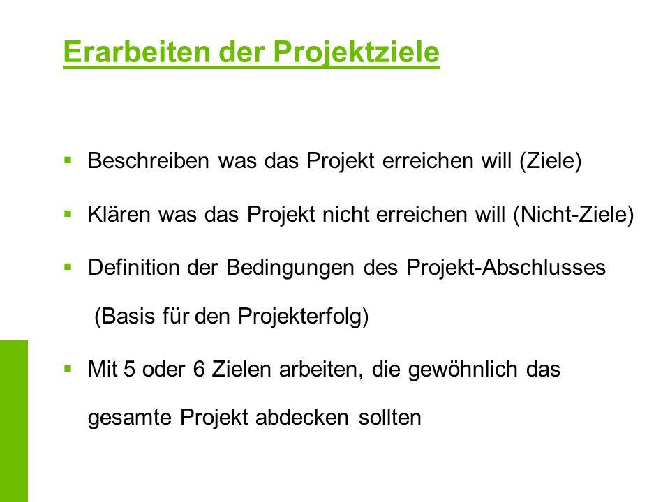 Erarbeiten der Projektziele