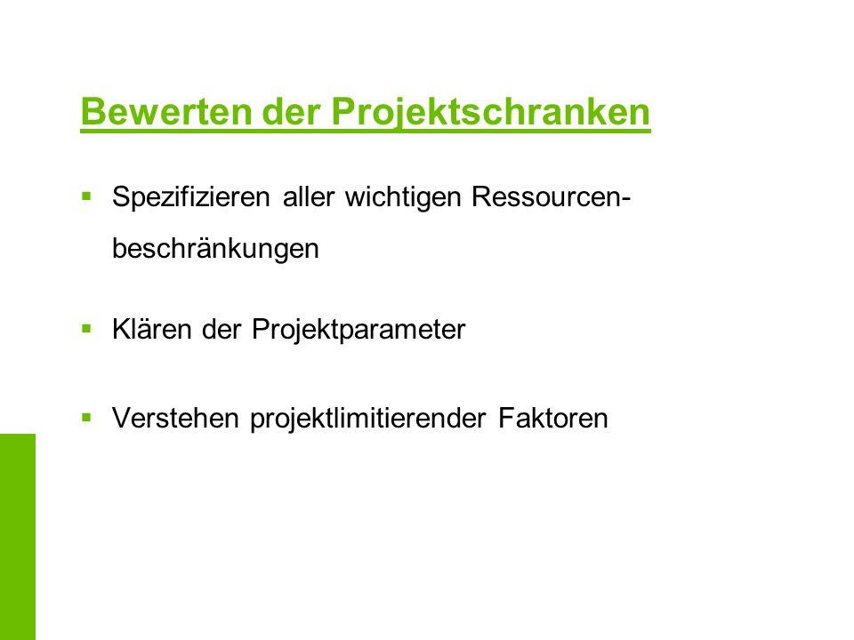 Bewerten der Projektschranken