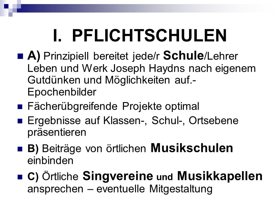 I. PFLICHTSCHULEN