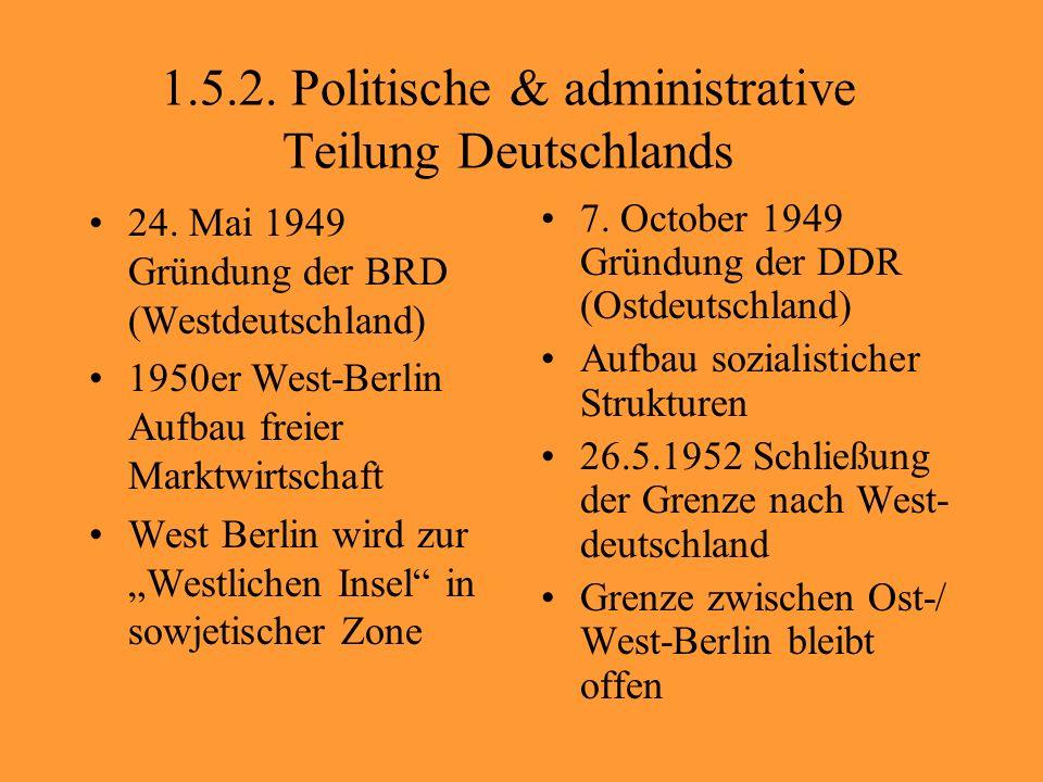 1.5.2. Politische & administrative Teilung Deutschlands