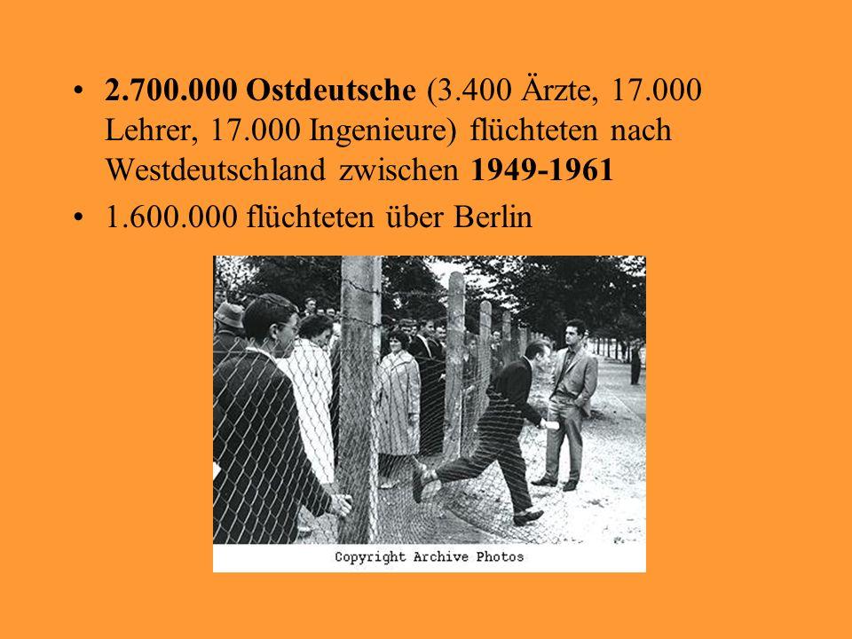 2. 700. 000 Ostdeutsche (3. 400 Ärzte, 17. 000 Lehrer, 17