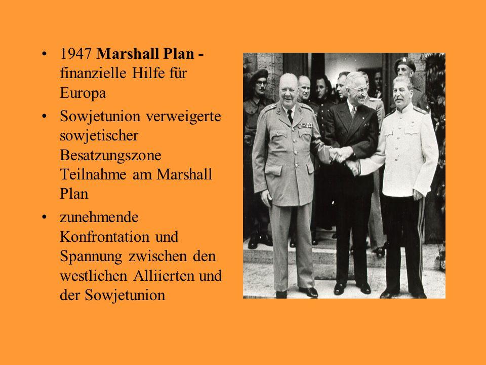 1947 Marshall Plan - finanzielle Hilfe für Europa