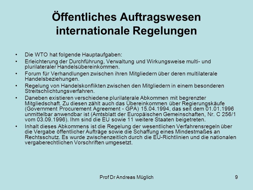 Öffentliches Auftragswesen internationale Regelungen
