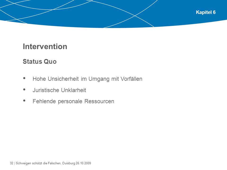 Intervention Status Quo Hohe Unsicherheit im Umgang mit Vorfällen