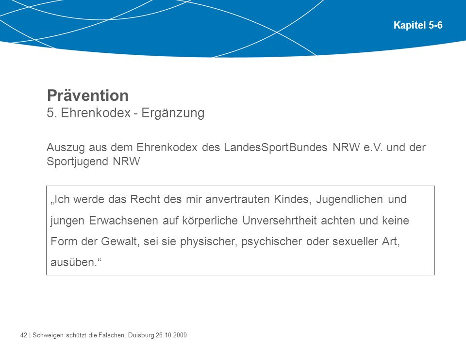Prävention 5. Ehrenkodex - Ergänzung