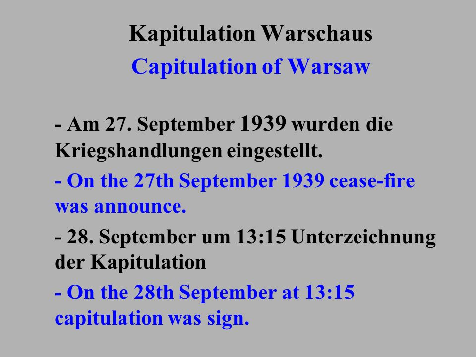 Kapitulation Warschaus Capitulation of Warsaw