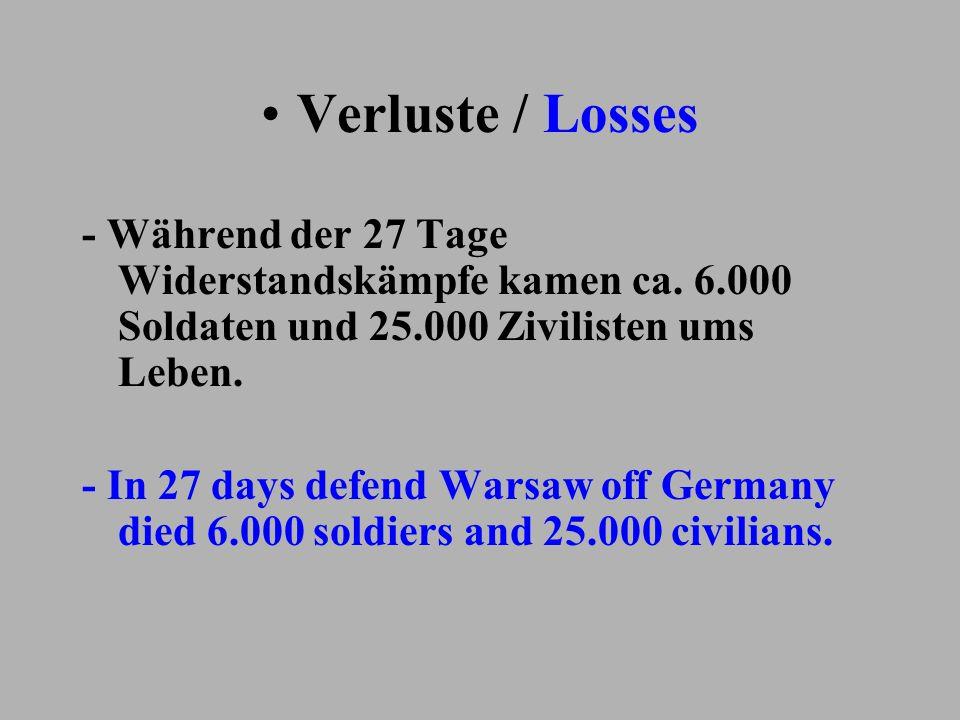 Verluste / Losses - Während der 27 Tage Widerstandskämpfe kamen ca. 6.000 Soldaten und 25.000 Zivilisten ums Leben.