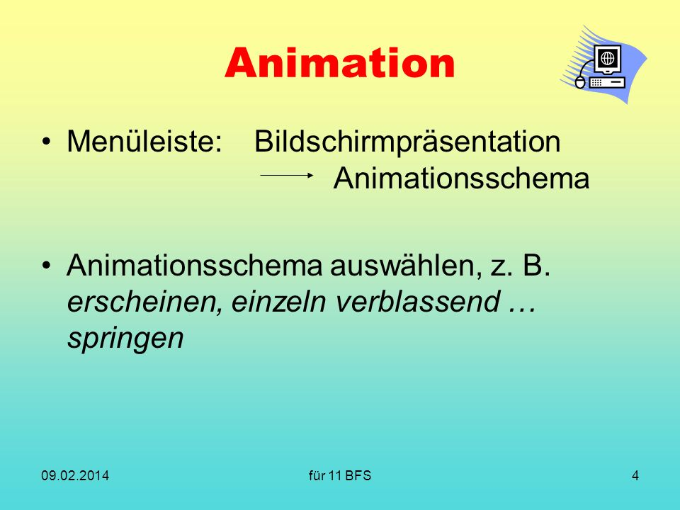 Animation Menüleiste: Bildschirmpräsentation Animationsschema