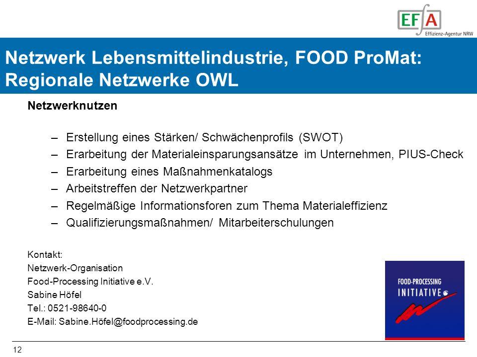 FOOD-ProMatNetzwerk Lebensmittelindustrie, FOOD ProMat: Regionale Netzwerke OWL. Netzwerknutzen. Erstellung eines Stärken/ Schwächenprofils (SWOT)