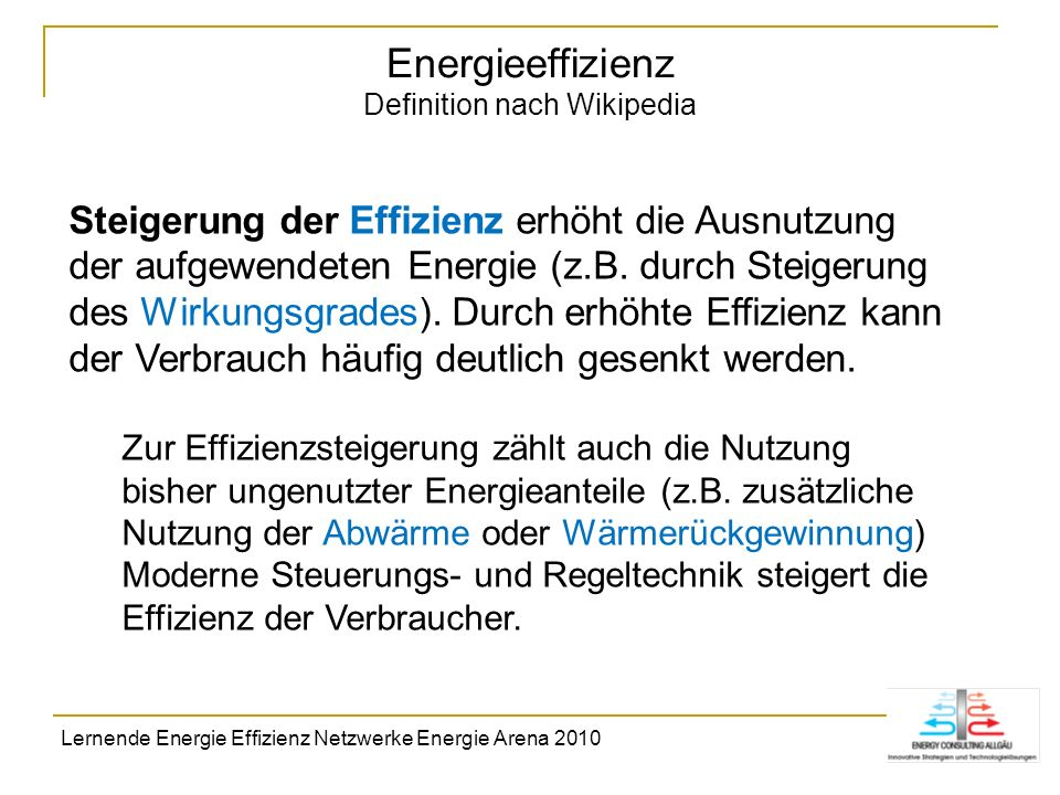 Energieeffizienz Definition nach Wikipedia