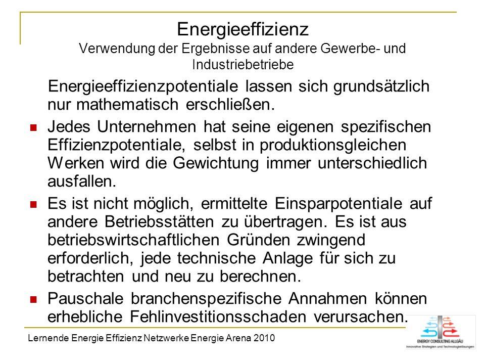 Energieeffizienz Verwendung der Ergebnisse auf andere Gewerbe- und Industriebetriebe