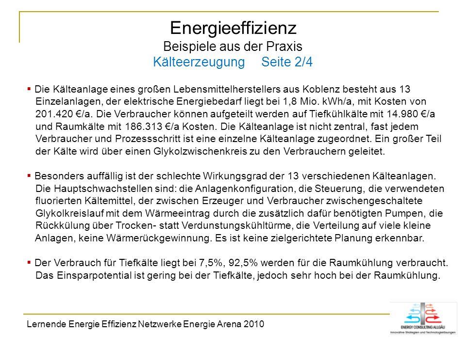 Energieeffizienz Beispiele aus der Praxis Kälteerzeugung Seite 2/4