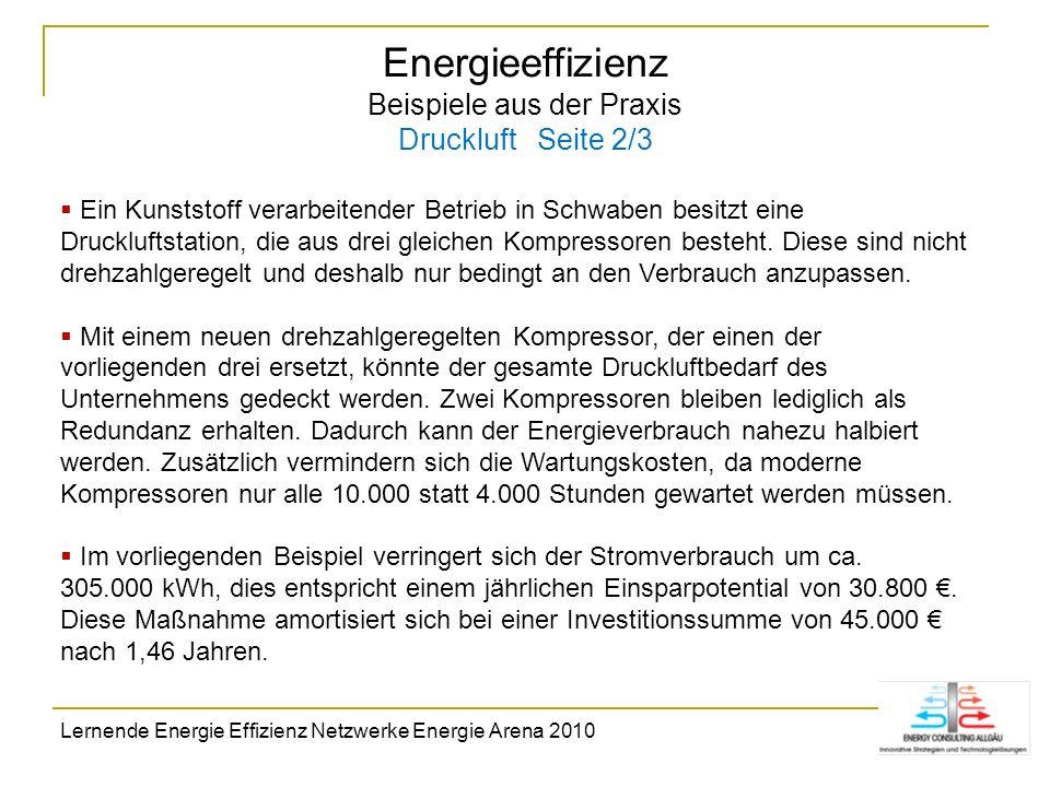 Energieeffizienz Beispiele aus der Praxis Druckluft Seite 2/3