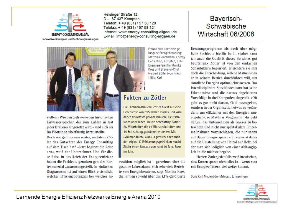 Lernende Energie Effizienz Netzwerke Energie Arena 2010