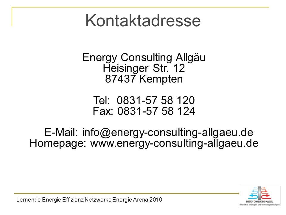 Kontaktadresse Energy Consulting Allgäu Heisinger Str. 12