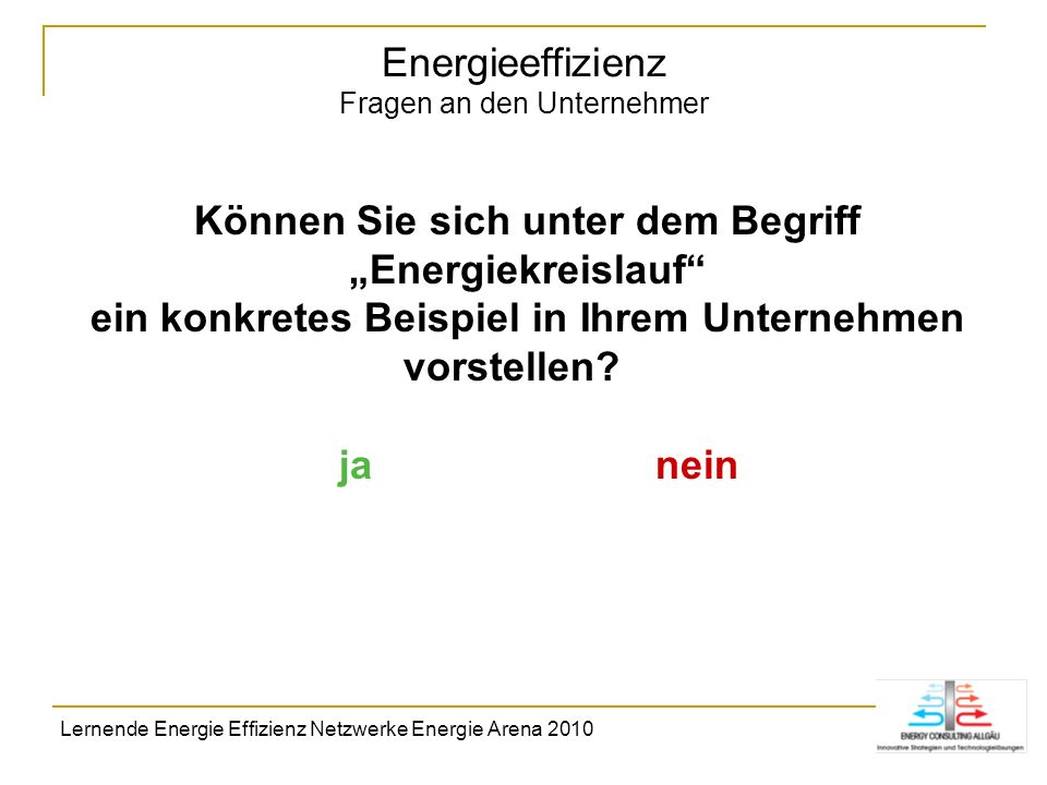 Energieeffizienz Fragen an den Unternehmer