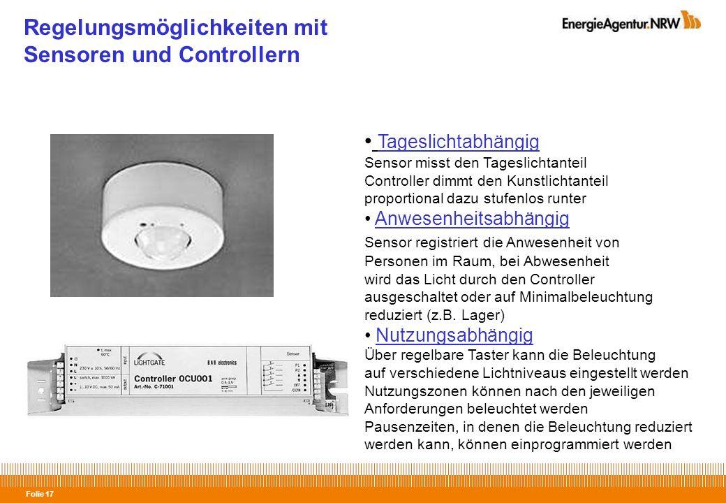 Regelungsmöglichkeiten mit Sensoren und Controllern