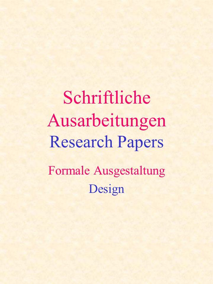 Schriftliche Ausarbeitungen Research Papers