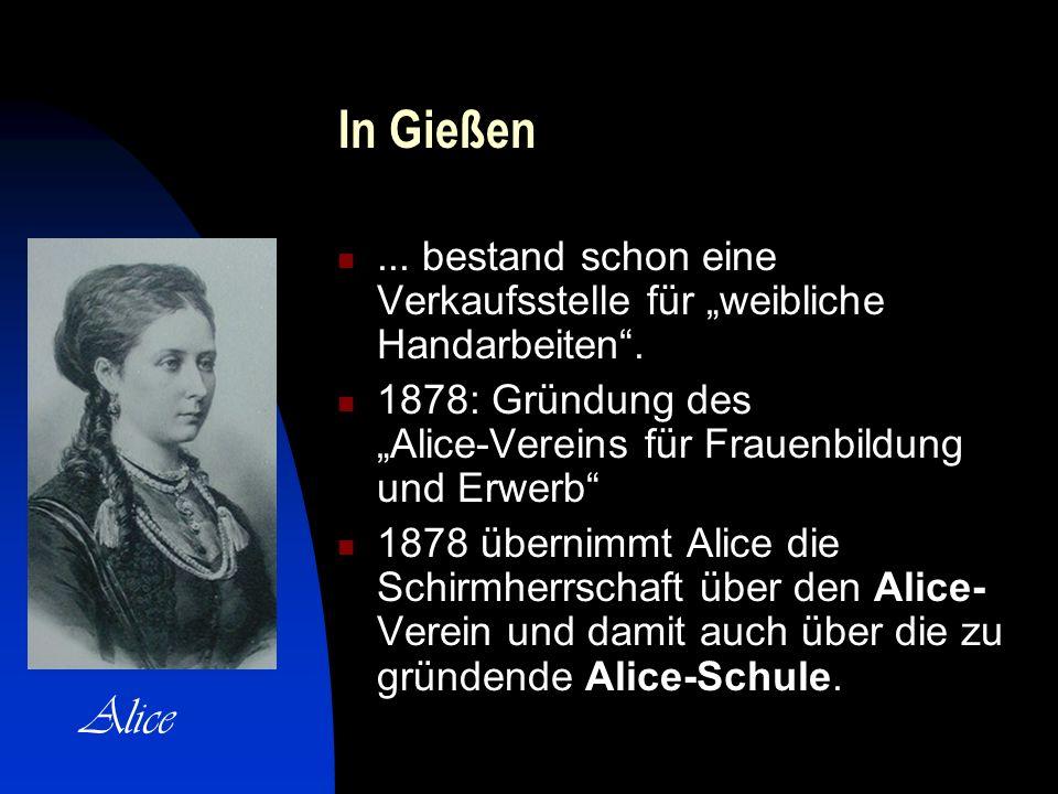 """In Gießen ... bestand schon eine Verkaufsstelle für """"weibliche Handarbeiten ."""