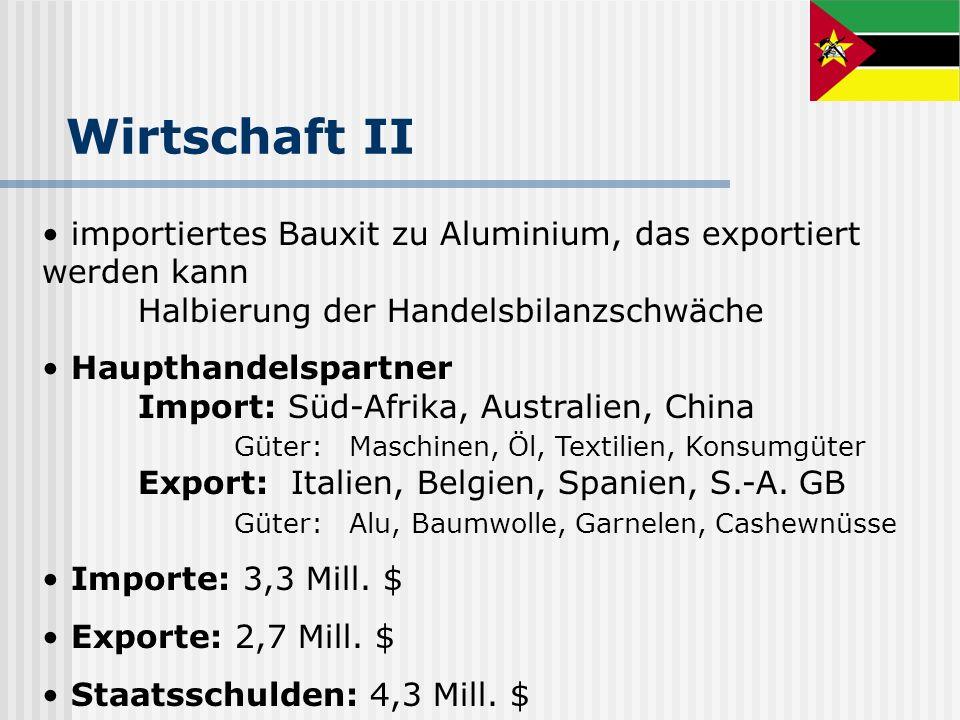Wirtschaft IIimportiertes Bauxit zu Aluminium, das exportiert werden kann Halbierung der Handelsbilanzschwäche.