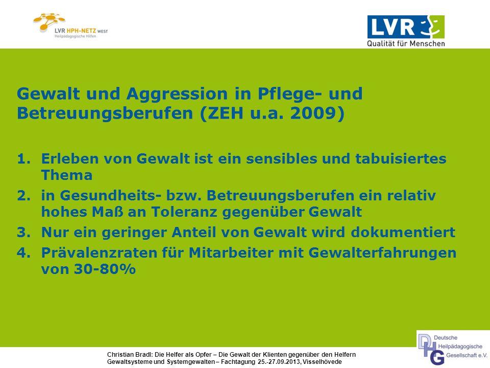 Gewalt und Aggression in Pflege- und Betreuungsberufen (ZEH u.a. 2009)