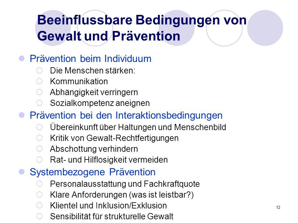 Beeinflussbare Bedingungen von Gewalt und Prävention