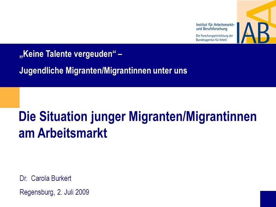 Die Situation junger Migranten/Migrantinnen am Arbeitsmarkt