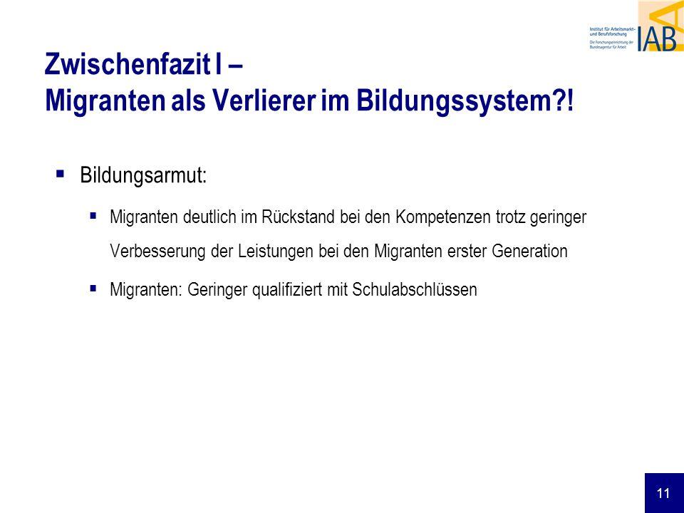 Zwischenfazit I – Migranten als Verlierer im Bildungssystem !