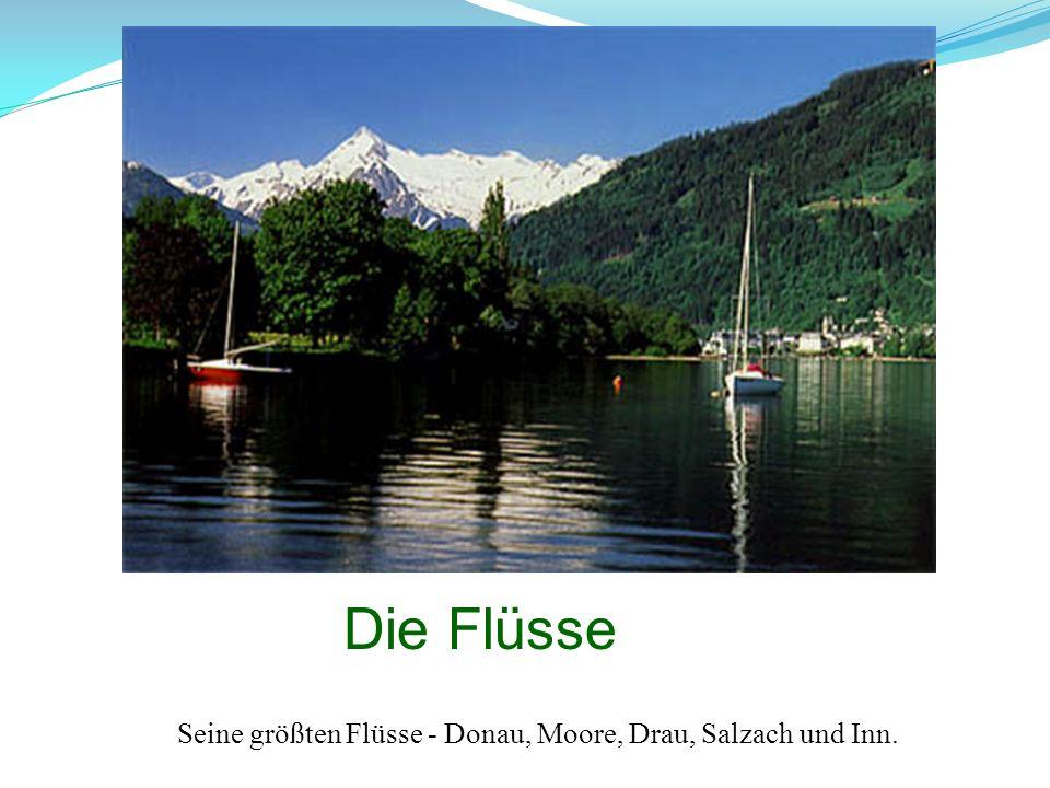 Seine größten Flüsse - Donau, Moore, Drau, Salzach und Inn.