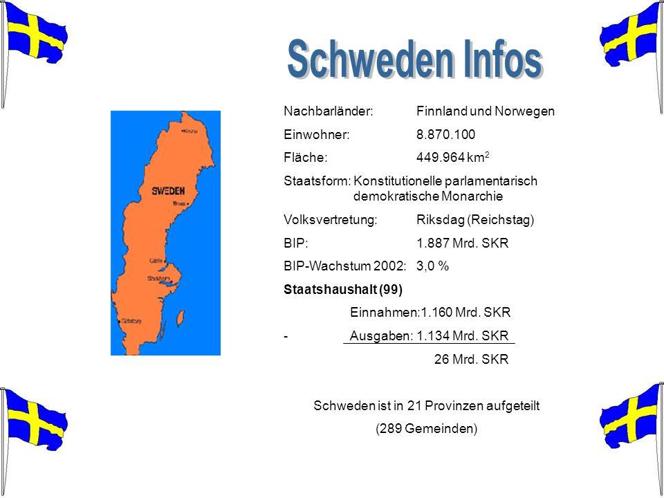 Schweden ist in 21 Provinzen aufgeteilt