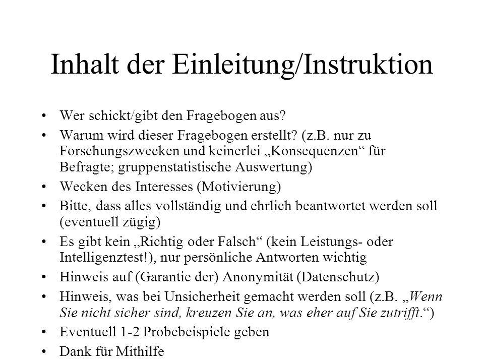 Inhalt der Einleitung/Instruktion
