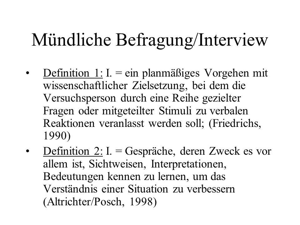 Mündliche Befragung/Interview