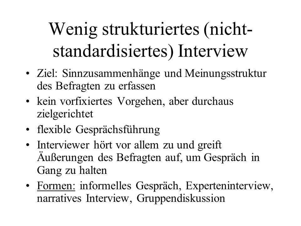 Wenig strukturiertes (nicht-standardisiertes) Interview