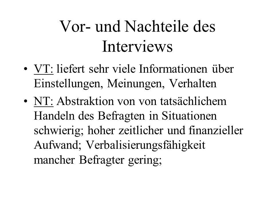Vor- und Nachteile des Interviews
