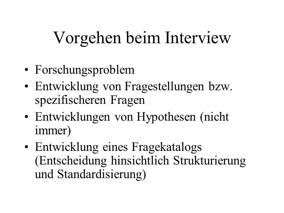 Vorgehen beim Interview