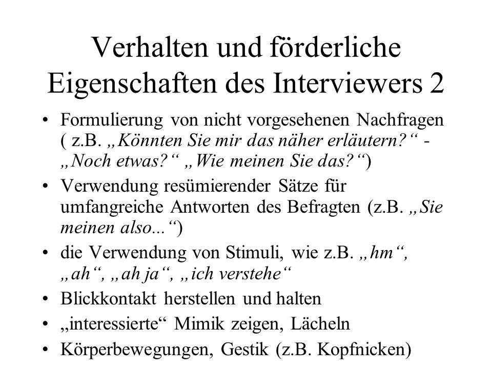 Verhalten und förderliche Eigenschaften des Interviewers 2