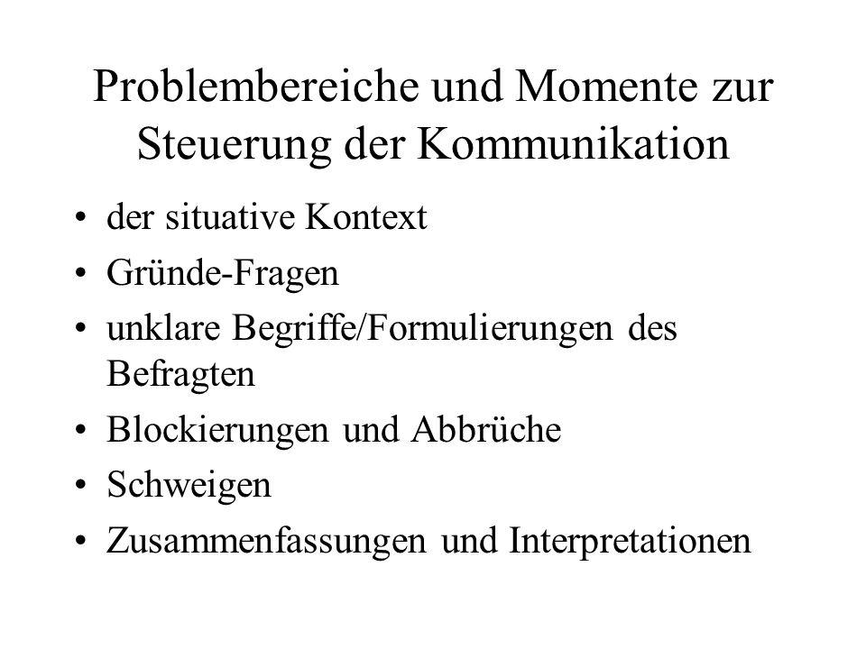 Problembereiche und Momente zur Steuerung der Kommunikation