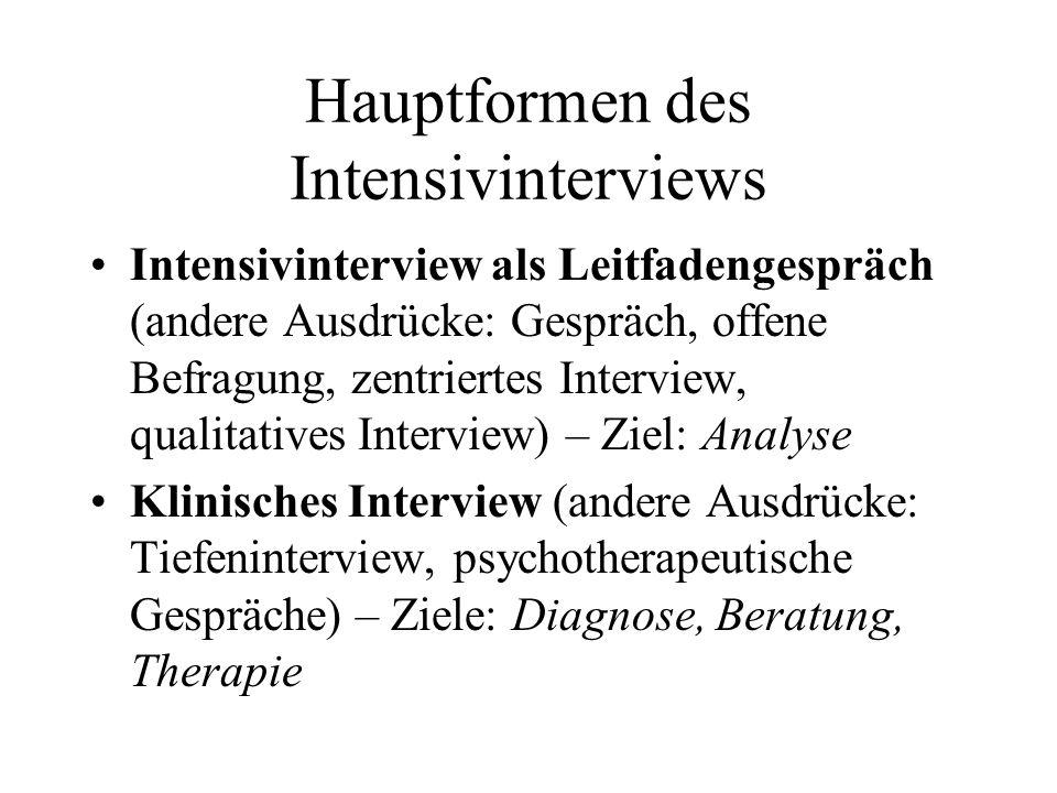 Hauptformen des Intensivinterviews