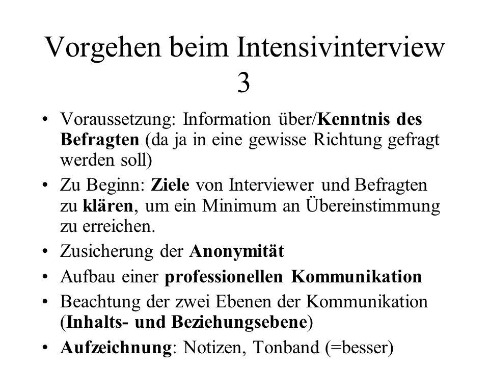 Vorgehen beim Intensivinterview 3