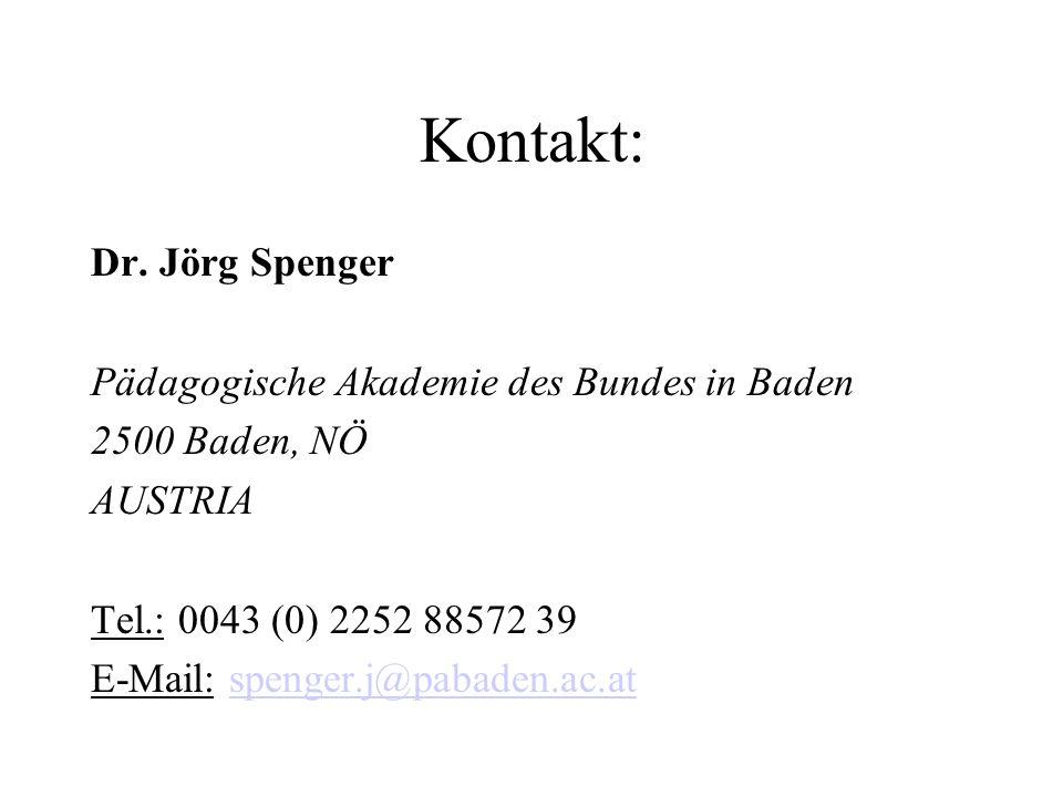 Kontakt: Dr. Jörg Spenger Pädagogische Akademie des Bundes in Baden