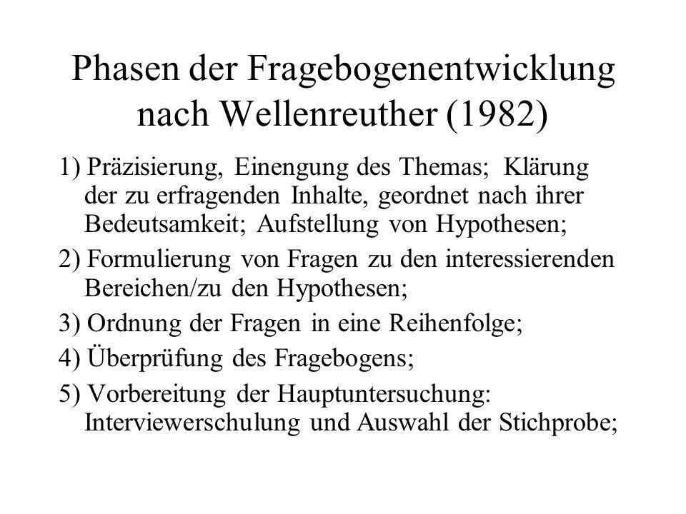 Phasen der Fragebogenentwicklung nach Wellenreuther (1982)